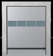 Brama przemysłowa segmentowa z panelem aluminiowym przeszklonym