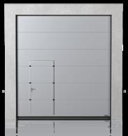 Brama przemysłowa segmentowa z drzwiami przejściowymi przesuniętymi