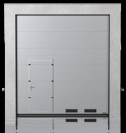 Brama przemysłowa segmentowa z drzwiami przejściowymi przesuniętymi i kratkami wentylacyjnymi K-1