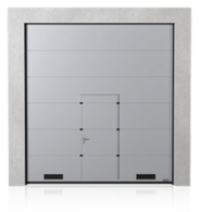 Brama przemysłowa segmentowa z drzwiami przejściowymi i kratkami wentylacyjnymi K-1