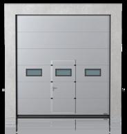 Brama przemysłowa segmentowa z drzwiami przejściowymi i okienkami A-1