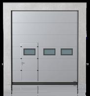 Brama przemysłowa segmentowa z drzwiami przejściowymi przesuniętymi i okienkami A-2