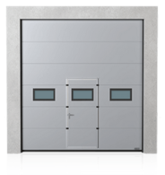 Brama przemysłowa segmentowa z drzwiami przejściowymi i okienkami A-2