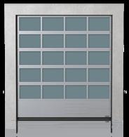 Brama przemysłowa segmentowa aluminiowa z dolnym panelem stalowym G, V, N, W