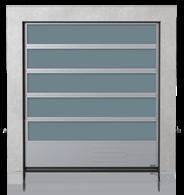 Brama przemysłowa segmentowa aluminiowa z przeszkleniami VISUAL i dolnym panelem stalowym G, V, N, W