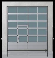 Brama przemysłowa segmentowa aluminiowa z dolnym panelem stalowym i drzwiami przejściowymi przesuniętymi