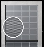 Brama przemysłowa segmentowa aluminiowa z panelami wentylowanymi (siatka cięto-ciągniona)