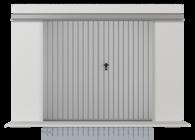 Brama podwieszana przesuwna wypełniona blachą T-10, układ wypełnienia pionowy (widok z zewnątrz)