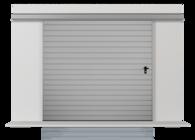 Brama przesuwna podwieszana jednoskrzydłowa wypełniona blachą T-10, układ wypełnienia poziomy (widok z zewnątrz)