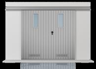 Brama przesuwna podwieszana dwuskrzydłowa wypełniona blahą T-10, układ wypełnienia pionowy, brama z okienkami w układzie pionowym oraz z kratką wentylacyjną (widok z zewnątrz)
