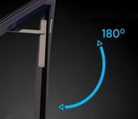 Zawiasy zewnętrzne, dzięki którym drzwi otwierają się do 180°