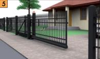 Brama przesuwna jest uniwersalnym rozwiązaniem zamknięcia wjazdu. Skrzydło nie zajmuje miejsca w świetle wjazdu, przesuwa się po wewnętrznej stronie ogrodzenia nie dotykając gruntu. Istnieje możliwość zastosowania dwóch kier otwierania bramy L i P.