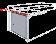 Sprężyny skrętne montowane z przodu przy nadprożu, brama z podwójnymi prowadnicami poziomymi.