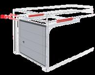 Sprężyny naciągowe, brama z podwójnymi prowadnicami poziomymi.