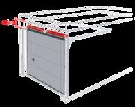 Sprężyny skrętne montowane z przodu przy nadprożu, brama z pojedynczymi prowadnicami poziomymi.